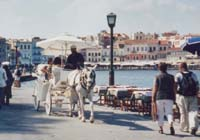 Pedestrian walkway and carriage rides on the Bay of Chania